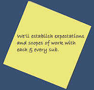 We'll establish expectations and scopes of work with each & every sub.